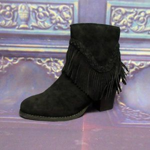 Sbicca Black Boots Fringe Patience Heels Ankle 7